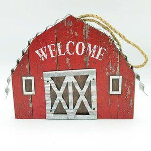 Welcome Barn with Corrugated Metal Accents Ornamen